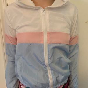 Pastel striped zip up hooded jacket